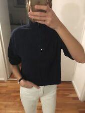 Asos Navy Blue Zip Neck Short Sleeve Sweatshirt Top
