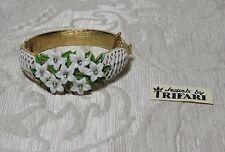 Fantastico braccialetto Trifari trifanium dorato metallo smaltato e fiorellini c