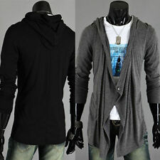 Button Cotton Blend Hooded Coats & Jackets for Men
