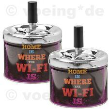 """2x Drehaschenbecher Dreh-Aschenbecher Drehfunktion """"Home is where the WI-FI is"""""""