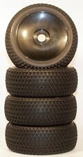 1/8 Black Tri-Dot Pre-Mounted 1/8 Buggy Tires Glued