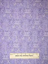 Petite Paris Eiffel Tower Flower Purple Girly Cotton Fabric Michael Miller YARD