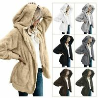Women Winter Bear Coat Jacket Winter Fluffy Loose Cardigan Outwear Plus Size
