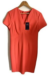 Mark And Spencer Bright Coral/orange Pencil Dress - Size 14