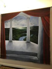 VINTAGE THEATRICAL OIL CANVAS RARE HUGE HAND PAINTED BACK DROP 7.5 x 8.0 Feet