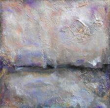 ORIGINAL ABSTRACT LANDSCAPE PURPLE ART MODERN Silver Gold Lavender Taupe Beige