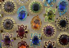 Job Lot 18pcs Rhinestone&Imitate CZ Gold P Big Women Pretty ring Jewelry AA46