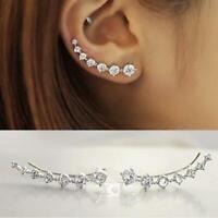 3Ct Round Cut Diamond Trendy Ear Climber Earrings Women 14K White Gold Finish