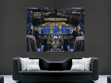 JET AIRLINER COCKPIT POSTER AEROPLANE AIRCRAFT RUNWAY LARGE PICTURE  GIANT