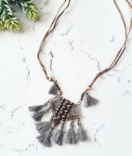 Vintage boho gray tassel triangle geometric copper leather sweater necklace