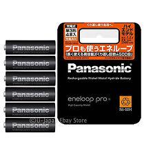 6 Panasonic Eneloop Pro Rechargeable Batteries AA High End Batteries 2500 mAh
