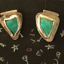 New Handcrafted Sterling Silver Semiprecious Turquoise SBG Post Earrings 3/4""