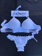 Victoria's Secret Bikini~Long Line Bombshell +2Cup~Ruffle Itsy~Matte White~34D/M