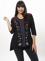 💕 JOHNNY WAS Embroidered CHARLENE 3/4 Sleeve V Neck Hi Low JWLA Tunic 1X $228💕