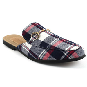 Mens Blue Plaid Fabric Backless Slip On Mule Gold Buckle Loafers Shoes AZARMAN