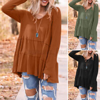 Women Long Sleeve V Neck Tiered Peplum Top T Shirt Casual Loose Blouse Plus Size