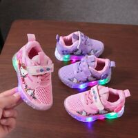 Kids baby Girls LED sneakers Toddler mesh sport shoes Flashing Light Up Trainers
