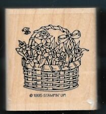 Honey Bee Flower Basket Bumblebee Insects Stampin' Up! 1995 wood Rubber Stamp