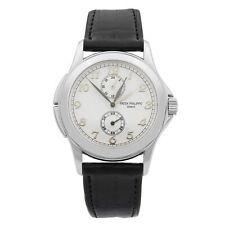 Tiempo de viaje Patek Philippe oro 18k Dial Blanco Hand-viento Hombre Reloj 5134G