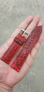 Genuine Lizard Skin Leather Watch Strap Band Black White Blue Red 18mm 20mm 22mm