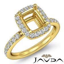 Diamond Engagement Ring Cushion Cut Semi Mount Halo Pave 14k Yellow Gold 0.36Ct