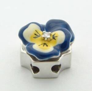 SLIDE DIAMOND ENAMELED FLOWER SLIDER CHARM 14K KLEIN