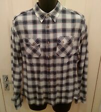 ASOS Medium Brown Blue White Checked Shirt