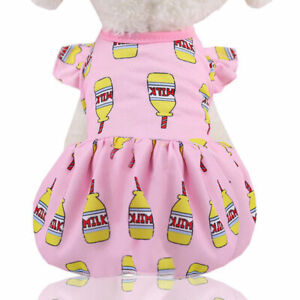 Summer Pet Dog Sling Dress Clothes Cute Fruit Print Skirt Vest Puppy Cat Dresses