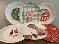 (6) Coca Cola Coke Melamine Plates Set One Hundred 80 Degrees