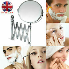 Extending 3X Magnifying Makeup Bathroom Shaving Round 2 Sided Mirror Wall UK