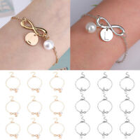 Silver Gold Adjustable Bracelet Initial Knot Pearl Charms Chain Bangle For Girls