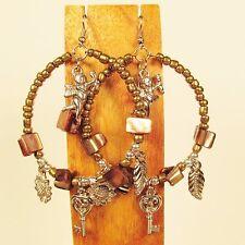 "2"" Gold Color SIngle Hoop Faux Silver Charm Handmade Seed Bead Hook Earrings"