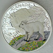Canada 2015 $20 Baby Animals: Mountain Goat 1 oz. 99.99% Pure Silver Color Proof