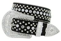 "Western Rhinestone Cowgirl Style Bling Women's Studded Fashion Belt 1-1/2"" Wide"