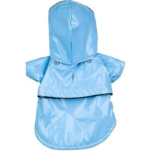 Blue PVC Waterproof Adjustable Pet Dog Raincoat Rain Coat Jacket w/ Remov Hood