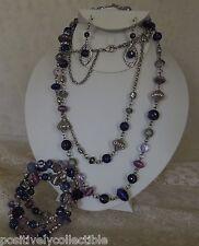 Gorgeous Set Blue Purple Silver Rhinestone Beaded Necklace Bracelet Earrings