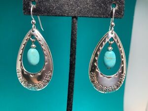 🌸 BRIGHTON SILVER TURQUOISE BEAD SANTA FE French Wire Earrings (E28) NWOT 🌸