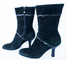 COLE HAAN Women's Suede Leather Mid Calf Sculpted Heel Short Boots Size 10B
