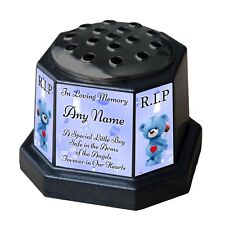 Baby Boy Personalised Memorial Vase Pot. For garden, grave etc. Child Blue Teddy