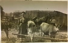 Real Photo RPPC  Farming ~ Man & Woman w Cows & Emaciated Horse ~ Hibbetts OH