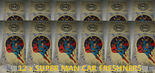 12x SUPERMAN CAR AIR FRESHENER DEODORISER PURIFIER ODOUR