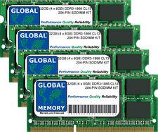 32 GB (4x8GB) DDR3 1866 MHz PC3-14900 204-PIN SoDIMM Memoria RAM Kit per computer portatili