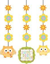 3 x Garçon Fille Neutre baby shower party avec Happy Tree Suspendu découpez décoration