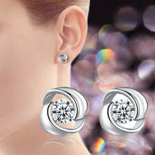 Women 925 Sterling Silver Swirl Stud Round Crystal Earrings Cubic Zirconia
