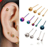 Set of 3 Paris Smooth Ball Hypoallergenic Titanium Stud Ear Earrings 3~5 MM