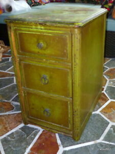 Authentic Antique 1920s Chippy 3 Draw End Table Night Stand Original Paint Hobo