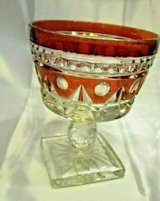 """2 Vintage CRABTREE /& EVELYN Ruby Red Cut Glass 5/"""" Bowl CANDLE Candy Dish Set"""