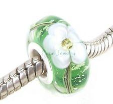Green White CZ Flower Murano Glass Bead Core Silver for European Charm Bracelet