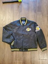 Los Angeles Lakers Satin Jacket Black Size Youth XL Womens Small EUC
