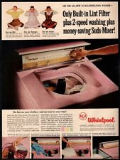 1956 RCA WHIRLPOOL Washing Machine - Pink - Yellow - Green - Retro VINTAGE AD